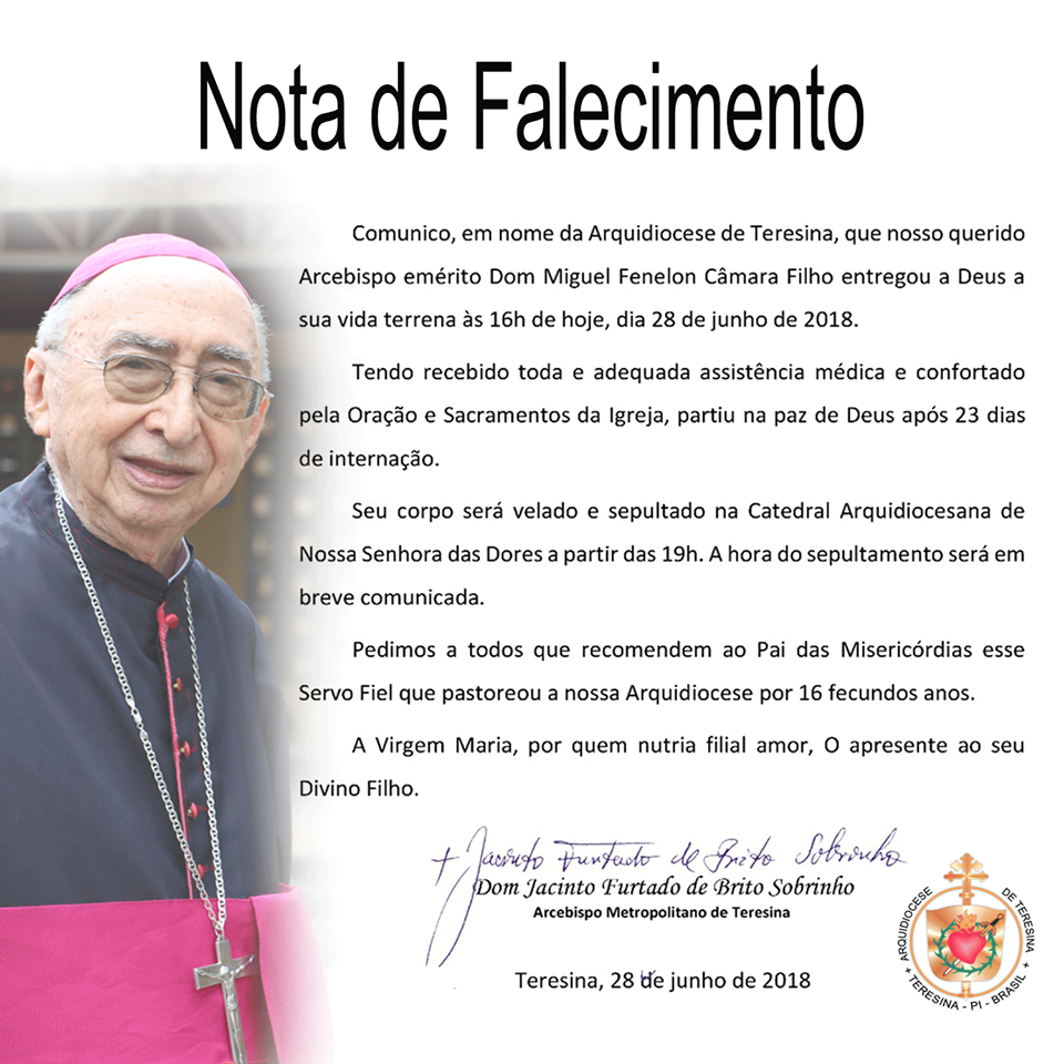 Morre o arcebispo emérito de Teresina, Dom Miguel Fenelon Câmara
